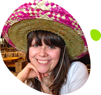 Emma Beal wearing a Mexican hat