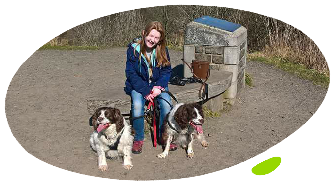 Bethany with spaniels